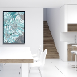 Framed 24 x 36 - Three little abstract blue flowers