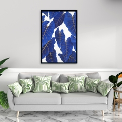 Framed 24 x 36 - Tropical abstract blue leaves