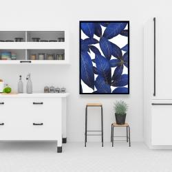 Framed 24 x 36 - Abstract modern blue leaves