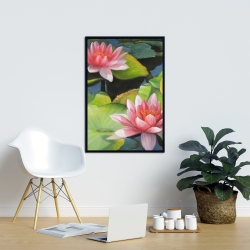 Framed 24 x 36 - Water lilies and lotus flowers