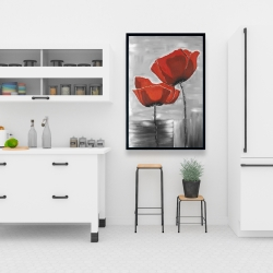 Framed 24 x 36 - Two red flowers on a grayscale background