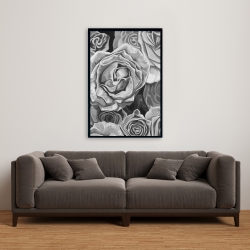 Framed 24 x 36 - Grayscale roses
