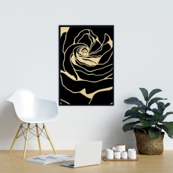Framed 24 x 36 - Cutout black rose