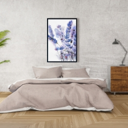 Framed 24 x 36 - Watercolor lavender flowers