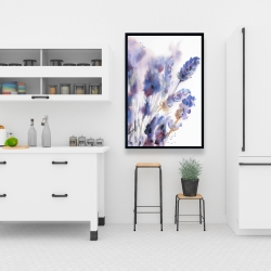 Framed 24 x 36 - Watercolor lavender flowers with blur effect