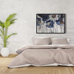 Framed 24 x 36 - Blue blurry flowers