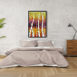 Framed 24 x 36 - Colored birches