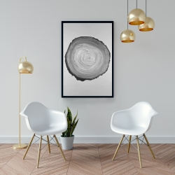 Framed 24 x 36 - Grayscale round wood log