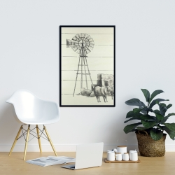 Framed 24 x 36 - Vintage old texas windmill