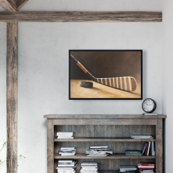 Framed 24 x 36 - Stick and hockey puck