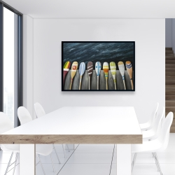 Framed 24 x 36 - Colorful paddles on the dock