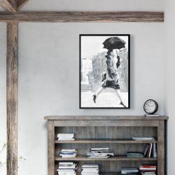 Framed 24 x 36 - Woman in the rain