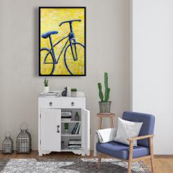 Framed 24 x 36 - Blue bike abstract