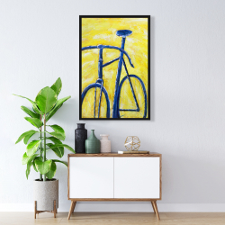Framed 24 x 36 - Blue bike on yellow background
