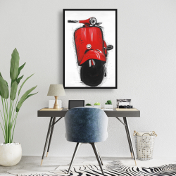 Framed 24 x 36 - Red italian scooter
