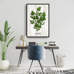 Framed 24 x 36 - Cilantro on wood