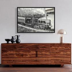 Framed 24 x 36 - Vintage passenger locomotive