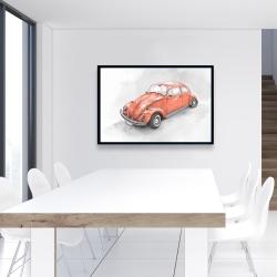 Framed 24 x 36 - Vintage red beetle