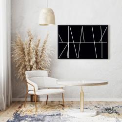 Framed 24 x 36 - White stripes on black background