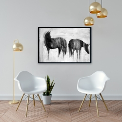 Framed 24 x 36 - Horses silhouettes in the mist