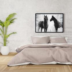 Framed 24 x 36 - Black and white horses