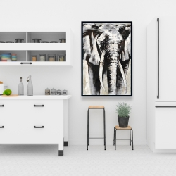 Framed 24 x 36 - Grayscale elephant