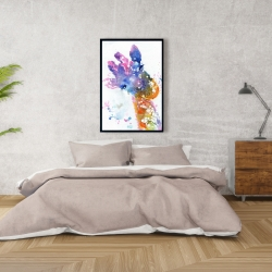 Framed 24 x 36 - Abstract giraffe with color splash
