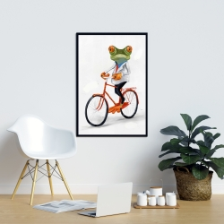 Framed 24 x 36 - Funny frog riding a bike