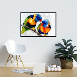 Framed 24 x 36 - Couple of parrots