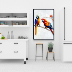Framed 24 x 36 - Parrots on a branch