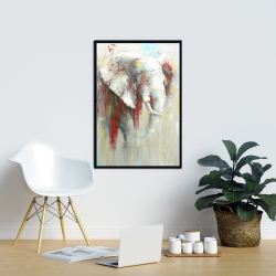 Framed 24 x 36 - Abstract elephant with paint splash