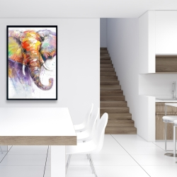 Framed 24 x 36 - Beautiful and colorful elephant