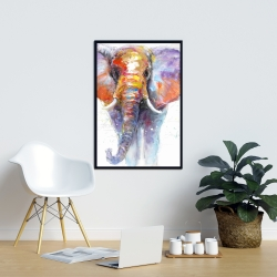 Framed 24 x 36 - Colorful walking elephant