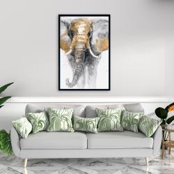 Framed 24 x 36 - Golden elephant