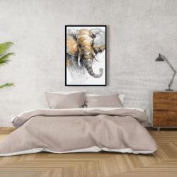 Framed 24 x 36 - Beautiful golden elephant