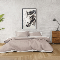 Framed 24 x 36 - Alpha the white horse