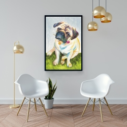 Framed 24 x 36 - Cute pug with a rose in his mouth