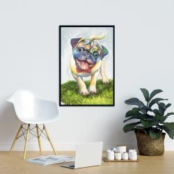 Framed 24 x 36 - Colorful smiling pug