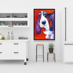 Framed 24 x 36 - Abstract colorful basset dog