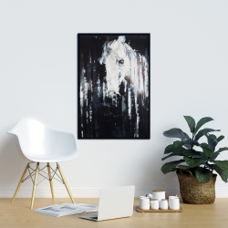 Framed 24 x 36 - Abstract horse on black background
