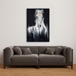 Framed 24 x 36 - Abstract white horse on black background