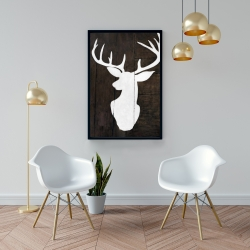 Framed 24 x 36 - Silhouette of a deer on wood