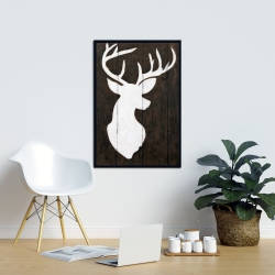 Framed 24 x 36 - White silhouette of a deer on wood
