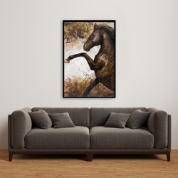 Framed 24 x 36 - Horse rushing into the soil