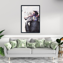 Framed 24 x 36 - Monkey listening music