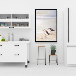 Framed 24 x 36 - Two sandpipers on the beach