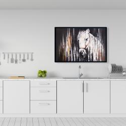 Framed 24 x 36 - White horse in the dark
