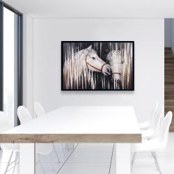 Framed 24 x 36 - Two white horses kissing