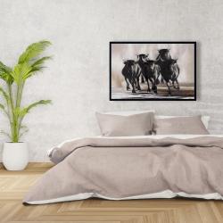 Framed 24 x 36 - Group of running bulls