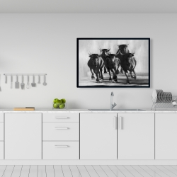 Framed 24 x 36 - Group of bulls at galops